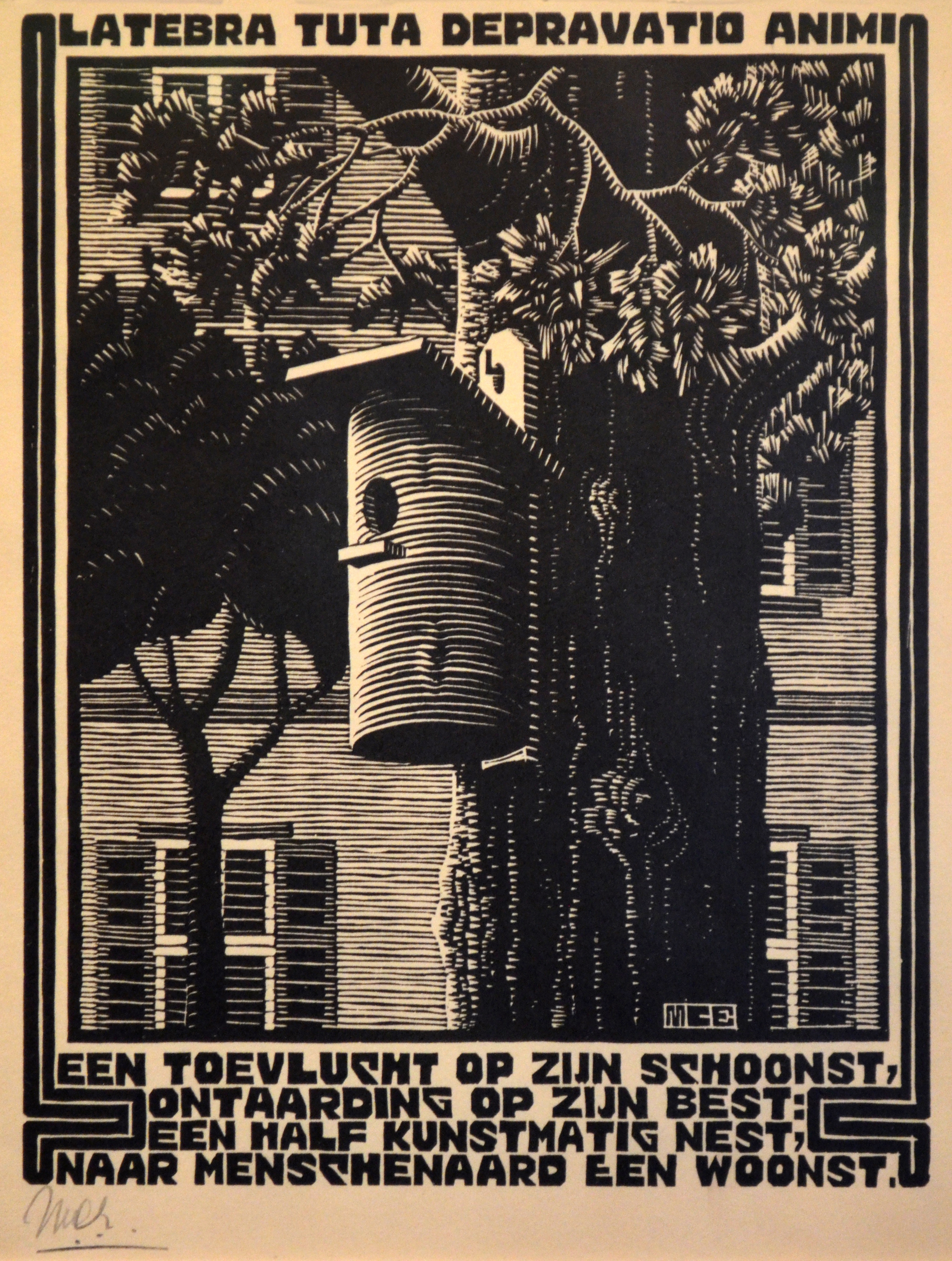 Escher - Woodcut on paper - Retreat