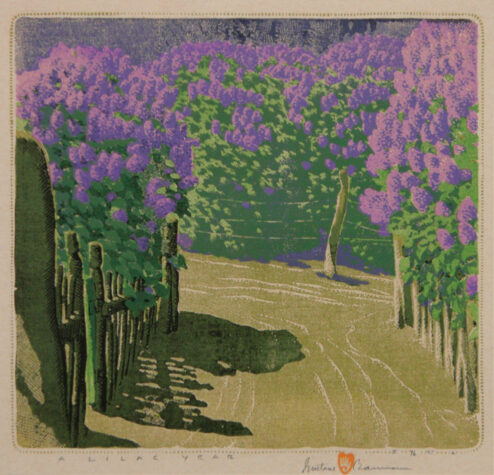 Gustave Baumann - Color Woodblock - A Lilac Year
