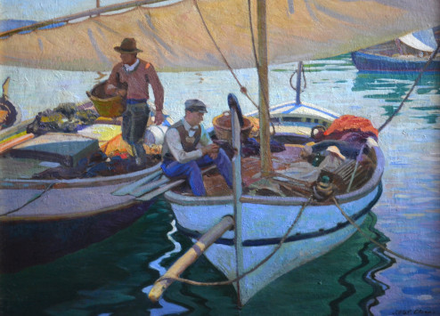 Olson - oil painting - Spanish Fishing Boats