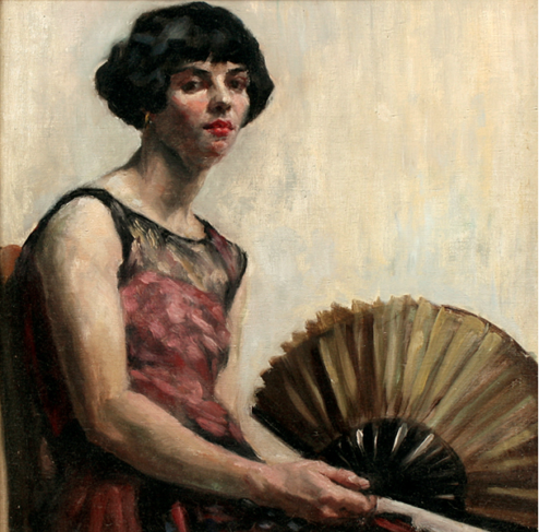 Levy - Painting - Woman with Fan
