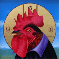 Kelley Vandiver - Oil on linen mounted on Dibond with 23.5K Gold - Rooster of God