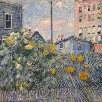 David Burliuk - Painting - Sunflowers in an Urban Garden