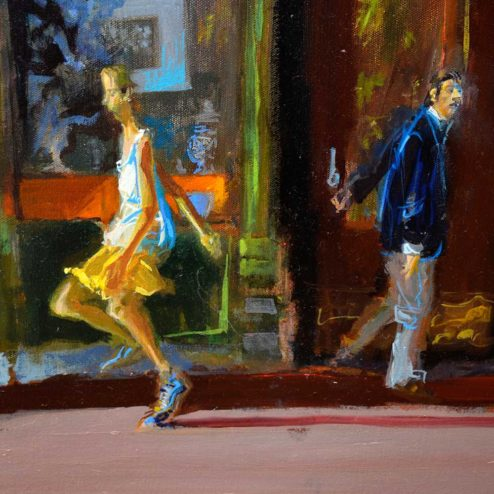 John Devaney - Oil Painting - Smoke Shop - detail